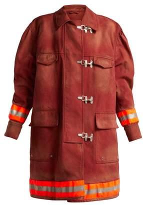 Calvin Klein Oversized Cotton Twill Firefighter Coat - Womens - Burgundy