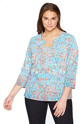 Ruby Rd. Women's Petite Size Keyhole Neck Polynesian Tapestry Printed Knit Top