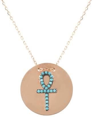 Rosegold Latelita London - Ankh Disc Necklace Turquoise