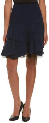 Elie Tahari Silk-Trim A-Line Skirt
