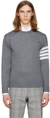 Thom Browne Grey Classic Four Bar Pullover $875 thestylecure.com
