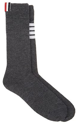 Thom Browne Men's Striped Cashmere-Cotton Mid-Calf Socks $230 thestylecure.com