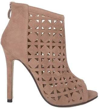 Goodnight Macaroon 'Alicen' Laser Cut Peep Toe High Heeled Boots