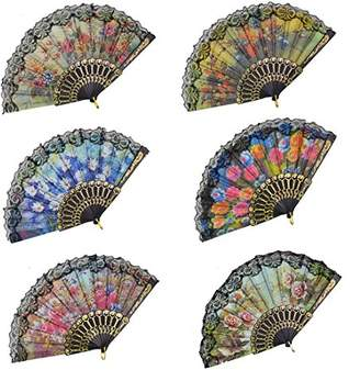 """Church's Rbenxia Spanish Floral Folding Hand Fan Flowers Pattern Lace Handheld Fans Size 9"""" Pack of 10 Random Color Suitable For Wedding Dancing Party Gifts"""