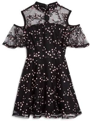 Miss Behave Girls' Kathleen Floral-Embroidered Cold-Shoulder Dress - Big Kid