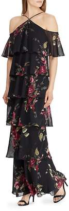 Lauren Ralph Lauren Tiered Cold-Shoulder Floral Gown