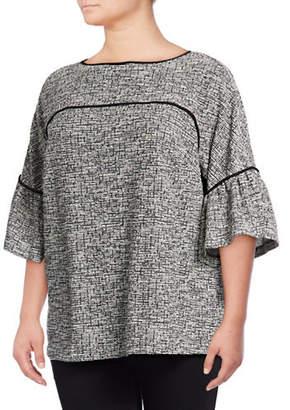 Calvin Klein Plus Plus Tweed Bell-Sleeve Top
