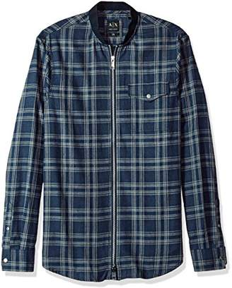Armani Exchange A|X Men's Plaid Shirt with Zipper Closure