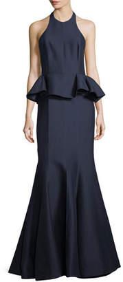 Halston Sateen Peplum Halter Gown