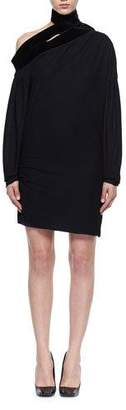 Tom Ford Long-Sleeve Sable Jersey Scarf Dress