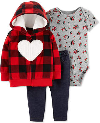 Carter's Carter Baby Girls 3-Pc. Heart Hoodie, Floral-Print Bodysuit & Denim Pants Set