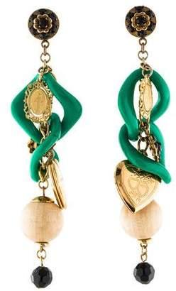 Dolce & Gabbana Crystal, Resin & Locket Chandelier Earrings