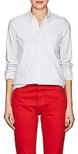 VIS A VIS Women's Striped Cotton Oxford Cloth Blouse-Gray