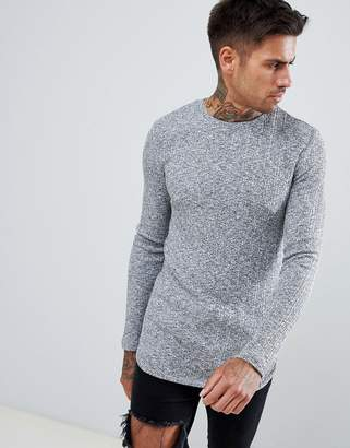 Asos Design DESIGN longline muscle fit long sleeve t-shirt with curved bound hem in twisted rib fabric