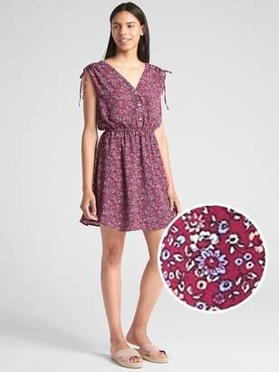 Gap Print Tie-Shoulder Mini Shirtdress