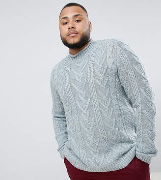 Asos DESIGN PLUS Cable Knit Sweater In Steel Blue