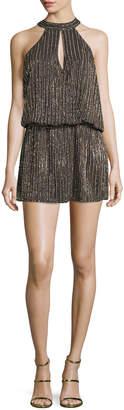 Parker Carlotta Sleeveless Halter Embellished Short Dress