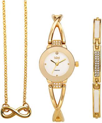Burgi Women's Alloy Diamond Watch, Bracelet, & Necklace Set