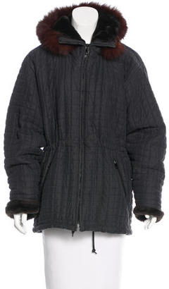 Andrew Marc Fox Fur-Trimmed Quilted Jacket $195 thestylecure.com