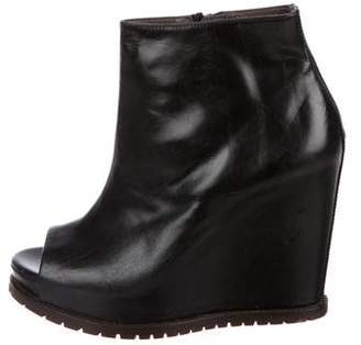 Brunello Cucinelli Leather Wedge Boots