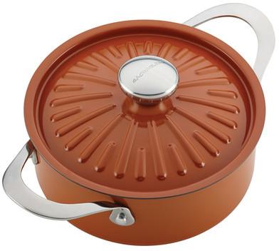 RACHEL RAY Orange Cucina Hard Porcelain Enamel Nonstick Covered Round Casserole