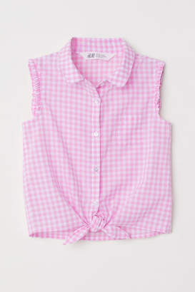 H&M Sleeveless Tie-front Blouse - Pink