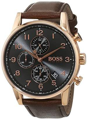 HUGO BOSS Men's Chronograph Quartz Watch with Leather Strap – 1513496