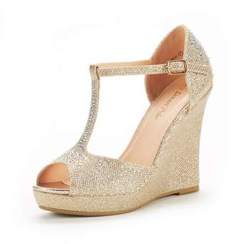 DREAM PAIRS Women's Angeline-01 Gold Glitter Fashion Dress Wedges Platform Heel Peep Toe Wedding Pumps Sandals