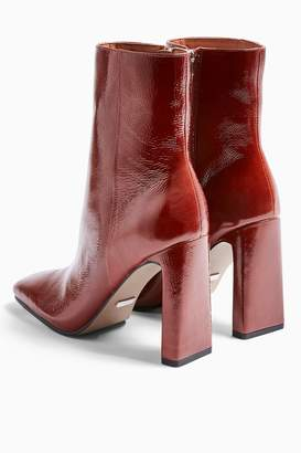 Topshop HALIA Leather Tan Square Toe Boots