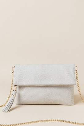 francesca's Tanvi Foldover Clutch Crossbody - Light Gray