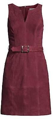 Trina Turk Women's Wine Country Sultana Belted Suede Mini Dress
