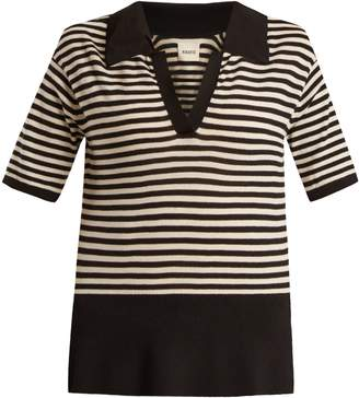 KHAITE Georgia V-neck striped wool-blend polo top