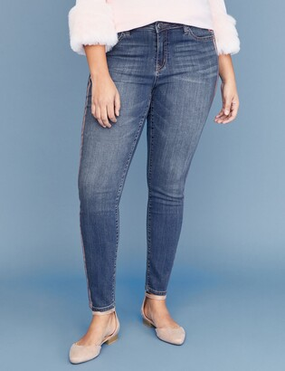 Lane Bryant Super Stretch Skinny Jean - Rose Gold Side Stripes