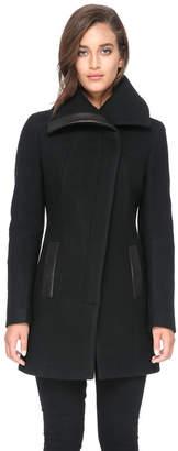 Soia & Kyo JEMMA slim-fit wool coat with asymmetrical collar