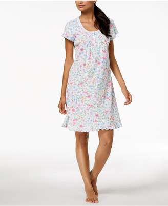 Miss Elaine Wildflower-Print Knit Nightgown