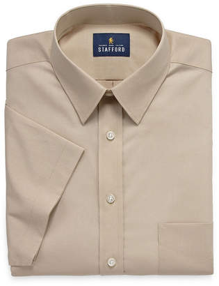 STAFFORD Stafford Travel Easy Care Stretch Broadcloth Short Sleeve Dress Shirt