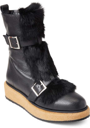 Paloma Barceló Black Nevada Real Fur Buckle Boots