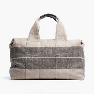 James Perse MONTECITO STRIPED LINEN WEEKEND BAG