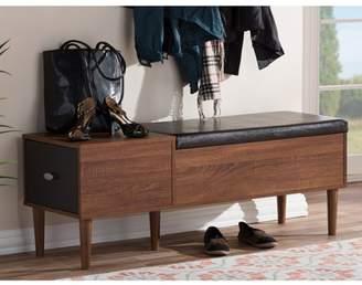Baxton Studio Merrick Entryway Cushioned Bench Shoe Rack Cabinet