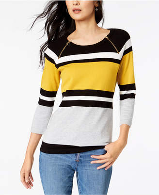 INC International Concepts I.n.c. Colorblocked Zip-Trim Sweater, Created for Macy's
