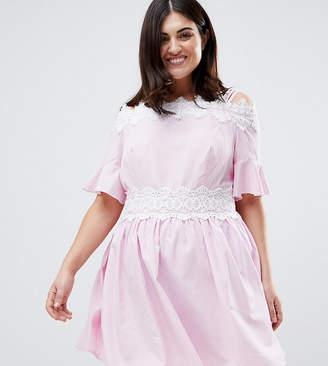 Koko Stripe Lace Trim Cold Shoulder Skater Dress