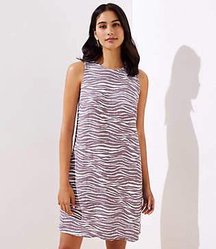 LOFT Petite Zebra Linen Blend Pocket Dress