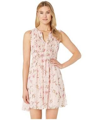 CeCe Flutter Sleeve Duchess Floral Clip Dot Dress