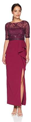 Adrianna Papell Women's Petite Long Dress with Beaded Top and Ruffle on Skirt