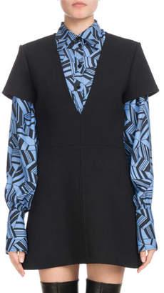 Chloé Short-Sleeve Deep-V Wool Crepe Mini Dress