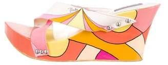 Emilio Pucci Canvas Colorblock Wedges