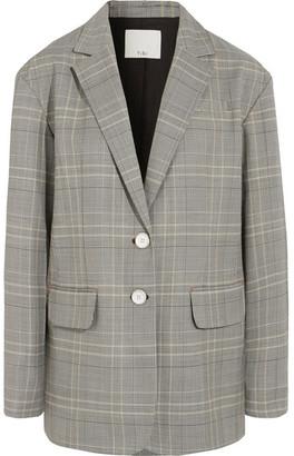 Tibi Jasper Oversized Checked Woven Blazer - Gray