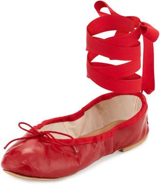 Neiman Marcus Ballet Beautiful Street Ballet Leather Ankle-Wrap Flats