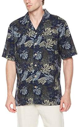 Isle Bay Linens Men's Relaxed-Fit Short Sleeve Vintage Linen Blend Cotton Casual Hawaiian Shirt