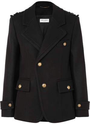 Saint Laurent Wool Coat - Black
